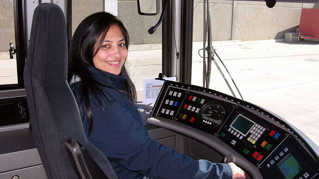 Torrens Connect driver Kuntal Langrana sitting in the driver's cab of a tram
