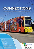 Cover of Connections newseltter showing a tram bearing an Aboriginal design