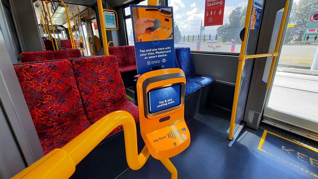 Tap and pay by credit card with the new validators on board Adelaide's trams.