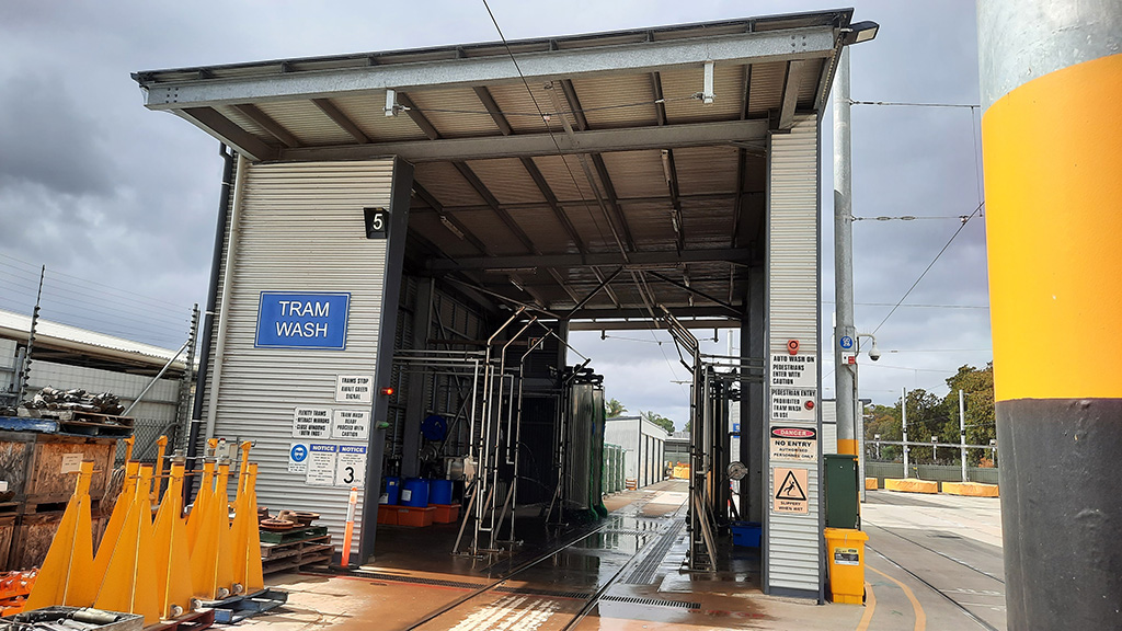 The tram wash bay at Glengowrie depot